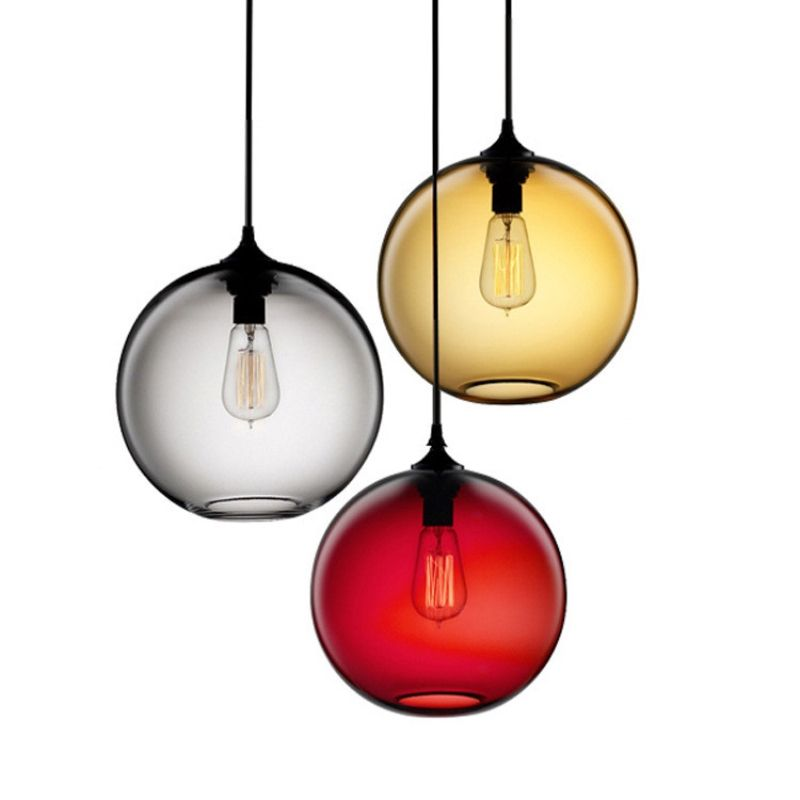 GZMJ Vintage Repo Glass Shade LED Pendant Lights Home Lighting Lampshade Hanging Lamps Globe Kitchen Pendant Lights Led Lamps