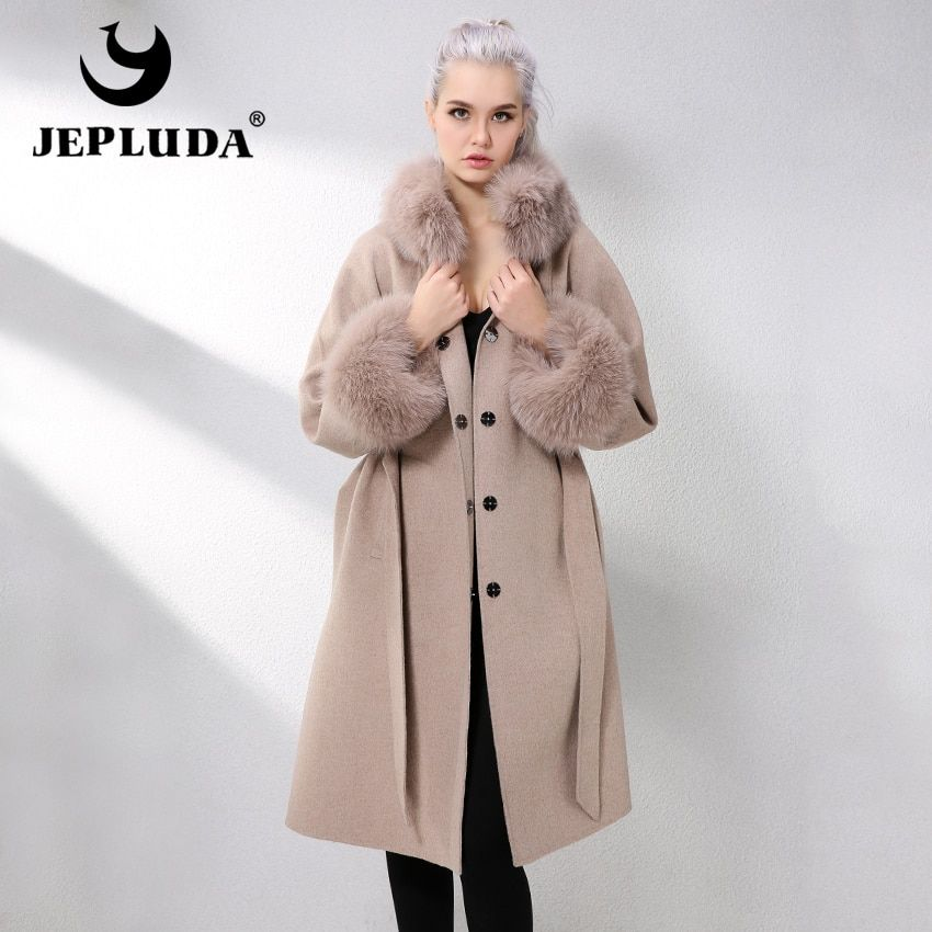 JEPLUDA Lange Kaschmir Mantel Frauen Hülse Kragen Mit Natürliche Echt Fox Fur Real Pelz Mantel Aus Echtem Leder Jacke Frauen Pelz jacken