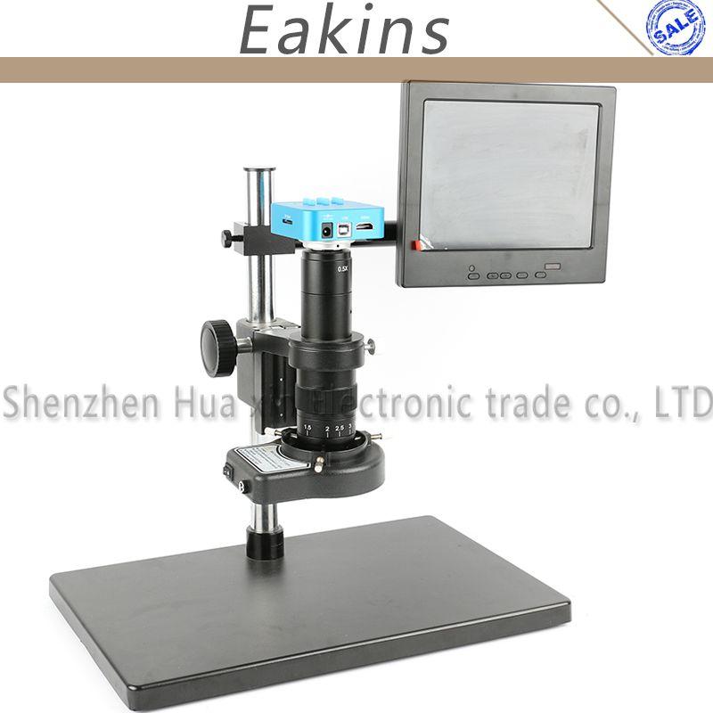 16MP 1080P 60FPS HDMI USB Industry Digital Video Microscope Camera+Big Stand+300X/180X C-MOUNT Lens+144 LED Light Ring+8