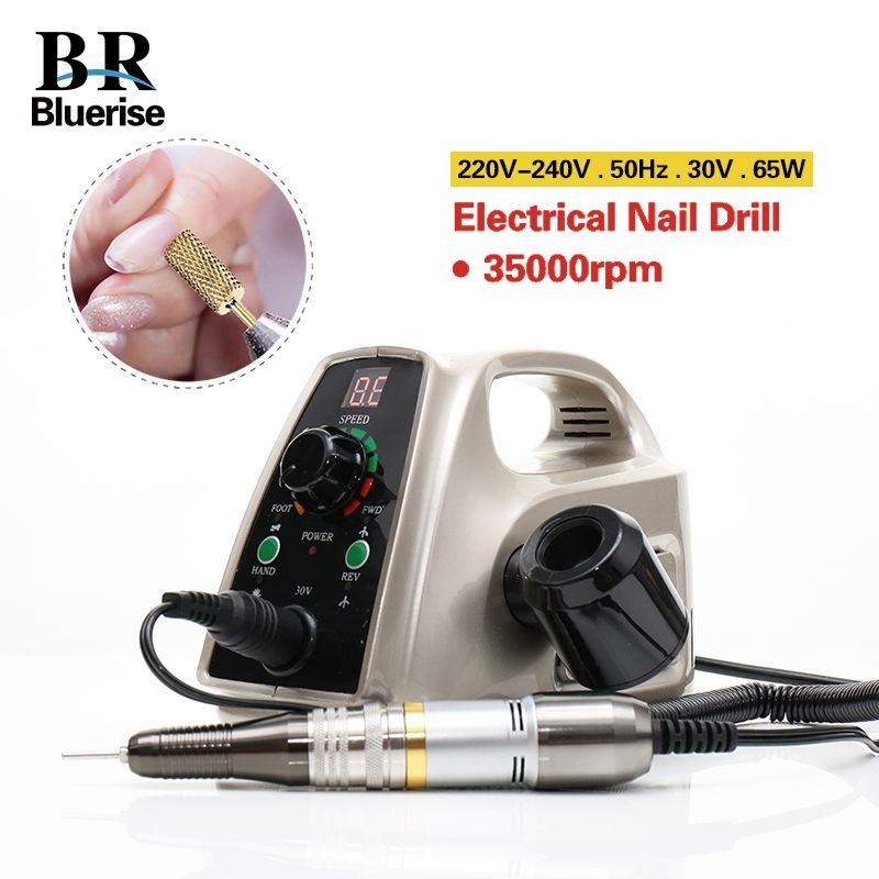 Électrique Nail Forage 35000 rpm Manucure Machine Pédicure Outils Accessoires Forage Bits Fichier Forte Nail Art Matériel 65 w 110 v 220 v