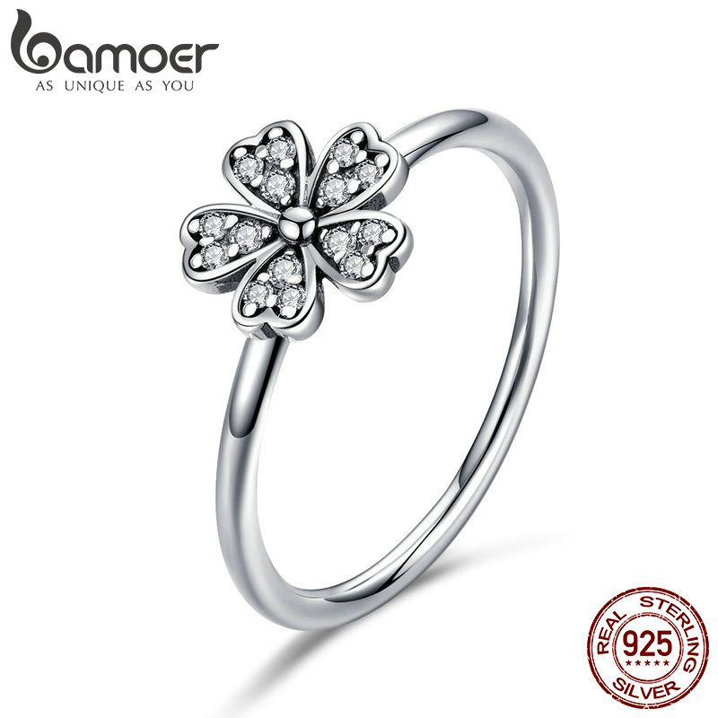 BAMOER Heißer Verkauf 100% 925 Sterling Silber Hochzeit Daisy Blume Finger Ringe für Frauen Sterling Silber Schmuck Geschenk S925 SCR398