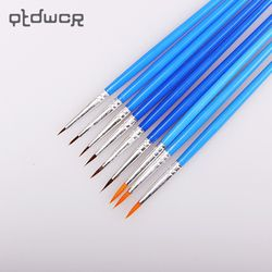 10 Pcs/ensemble Fine Peint À La Main Mince Crochet Ligne Stylo Bleu Art Fournitures Dessin Art Stylo Pinceau Brosse En Nylon Peinture stylo