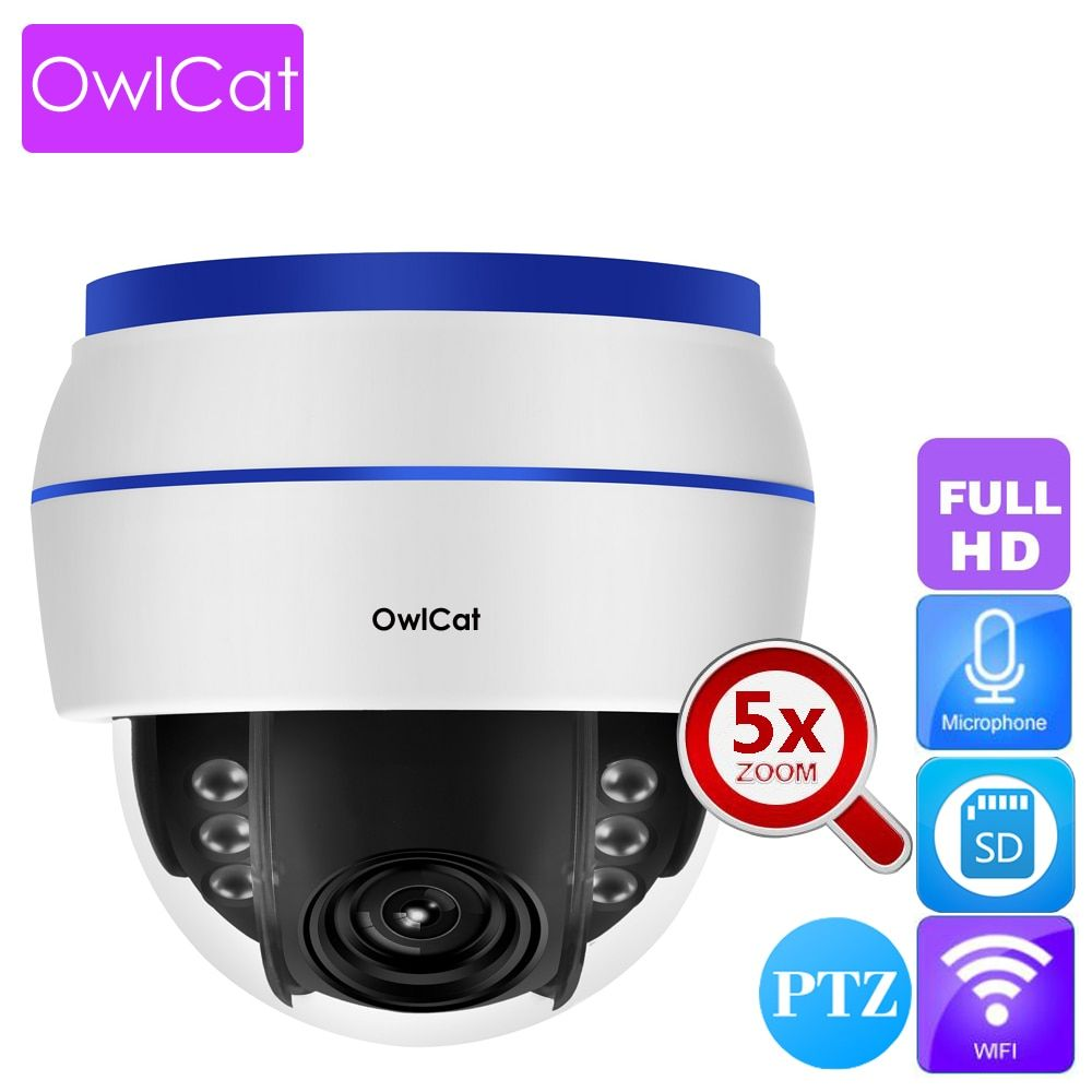 OwlCat Indoor Dome IP Camera WIFI 1080P HD 5x Optical Zoom PTZ Audio Microphone Wireless Video Surveillance Network Cam SD slot