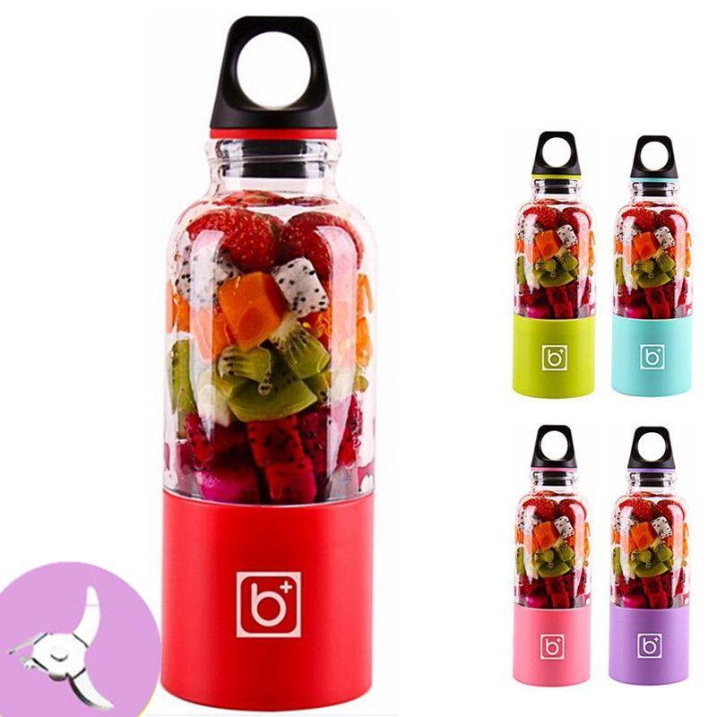 500 ml Tragbare Mixer 4 klingen USB Elektrische Obst Smoothie Entsafter Cup Maschine Dunst Wiederaufladbare Mini Mixer Maker Flasche