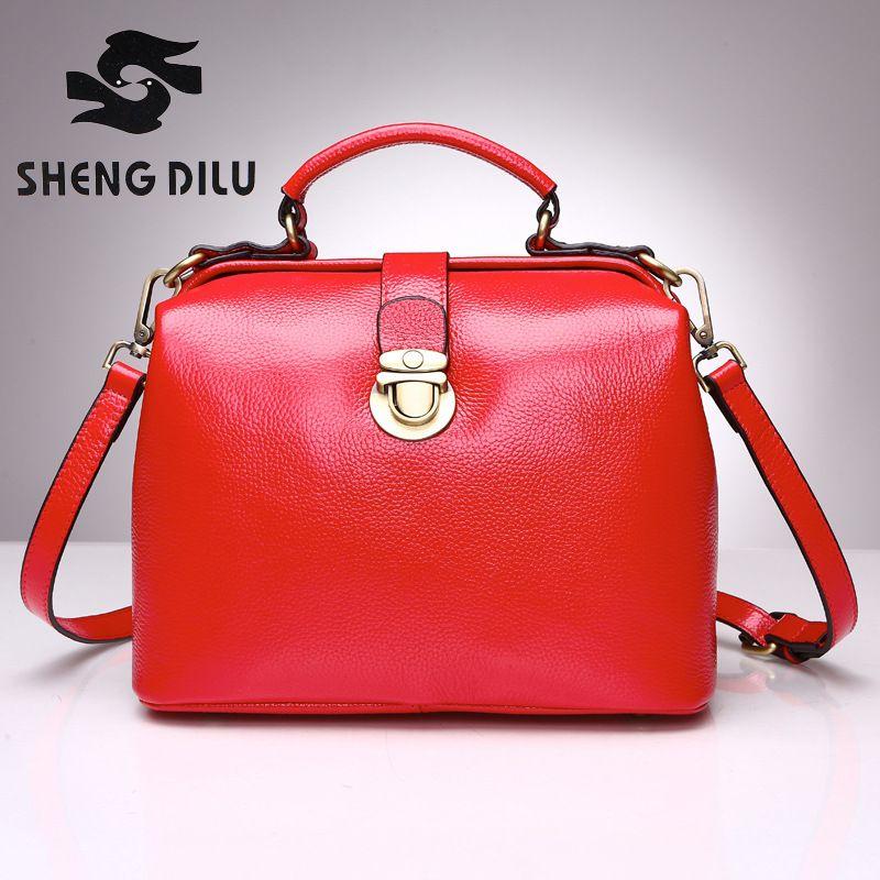2017 Famous Designer Luxury Brand Women Genuine Leather Handbag <font><b>Shoulder</b></font> Messenger Bag Tote Bolsas Mujer