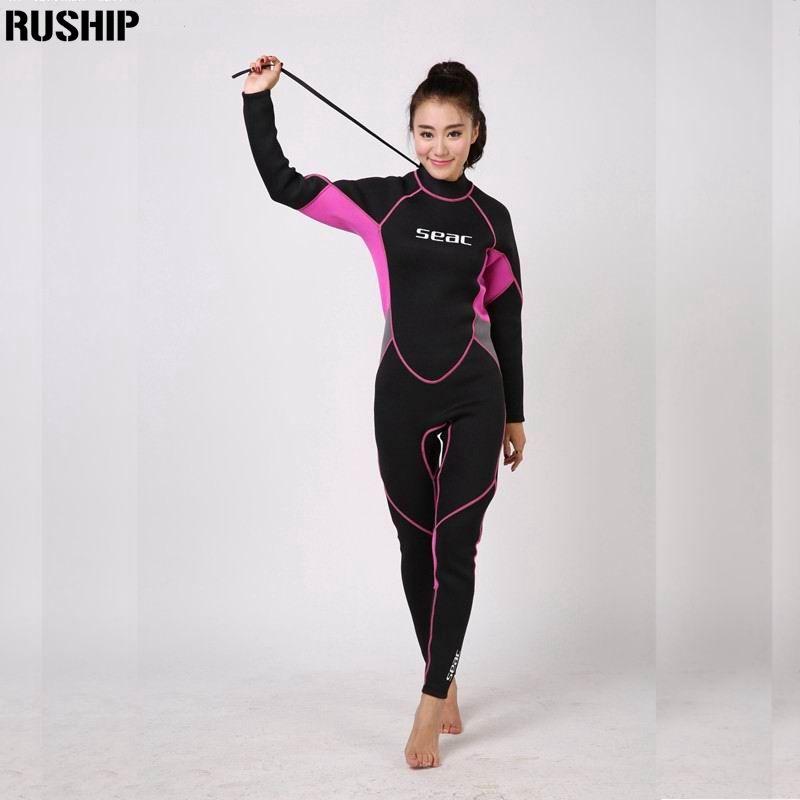 SEAC Professionelle 3mm Frauen Neoprenanzug taucheranzug Ausrüstung Ein Stück voller bodysuit Warme surfen schnorcheln schwimmen