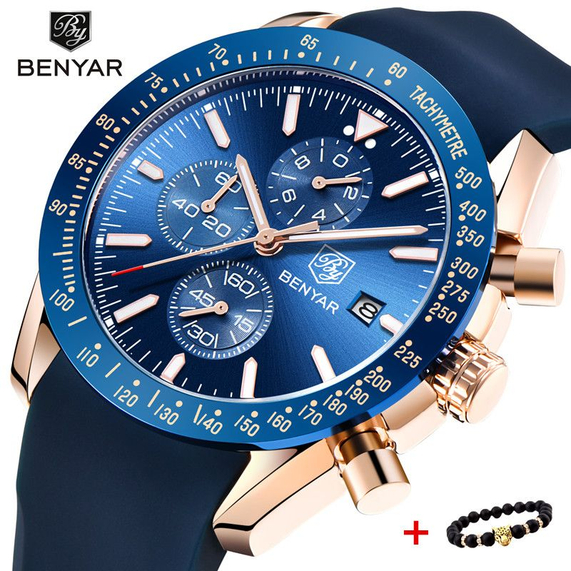 2018 Watch Men Luxury Brand BENYAR Mens Blue Watches Silicone Band Wrist Watches Men's Chronograph Watch Male Relogio Masculino