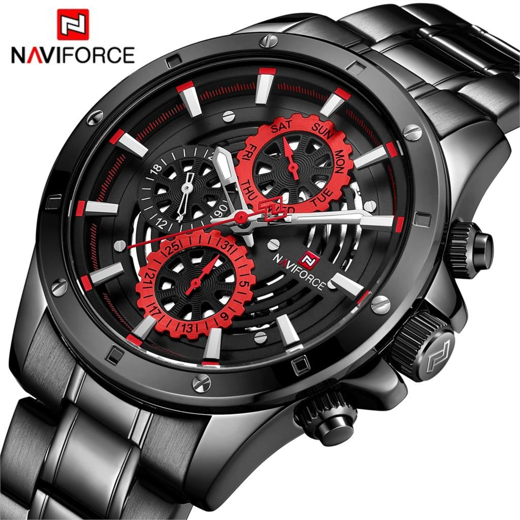 NAVIFORCE Brand New Fashion Sport Watch Men Luxury Quartz Wristwatch 3Bar Waterproof Full Steel Male Black Red Relogio Masculino