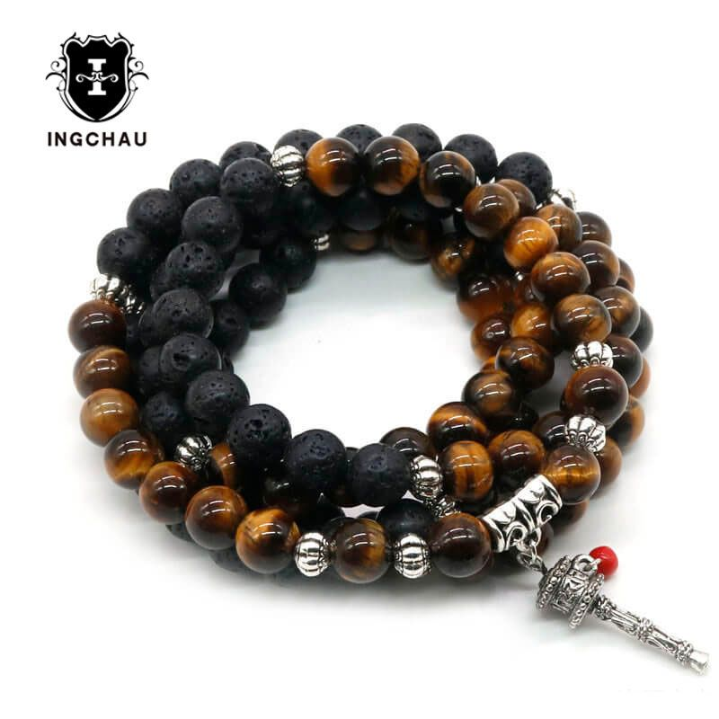 <font><b>Antique</b></font> 8mm Tibetan Buddhism Lava Stone Prayer Wheel Bracelets Men 108 Mala Beads Bracelet or Necklace Women Yoga Jewelry BD-23
