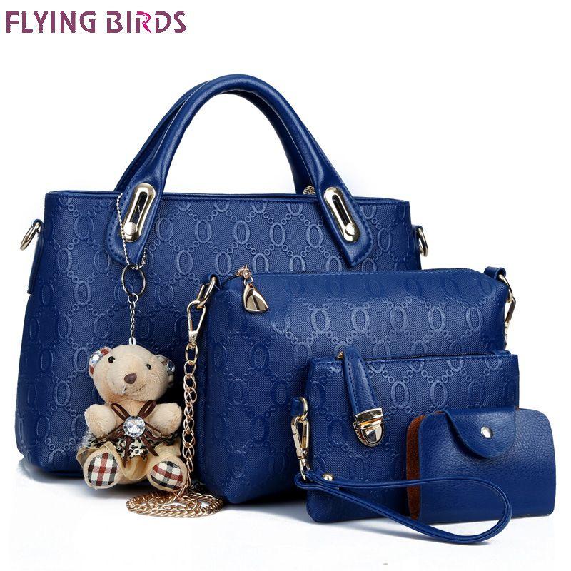 Flying birds women leather handbag 4 pcs set luxury tote women bag brands bolsos pouch messenger bags ladies wallet female purse