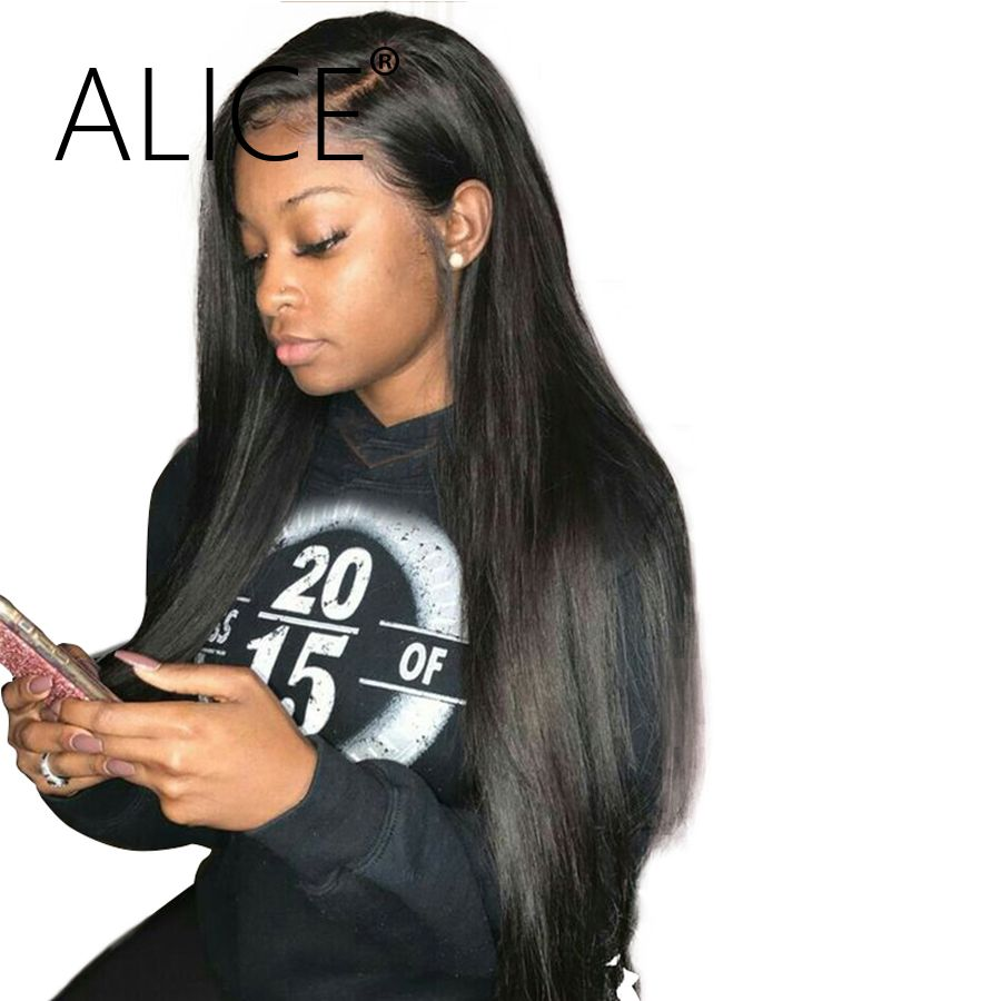 ALICE Silky Straight Brazilian <font><b>Full</b></font> Lace Human Hair Wigs With Baby Hair Remy Hair Pre Plucked Glueless Lace Wigs Bleached Knots