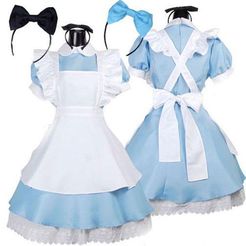 Hot <font><b>Sale</b></font> Alice in Wonderland Costume Lolita Dress Maid Cosplay Fantasia Carnival Halloween Costumes for Women