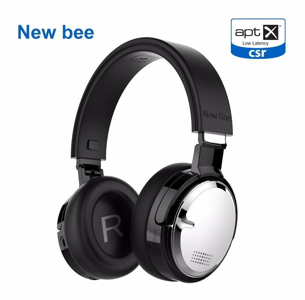 New Bee Active Noise Cancelling Headphone Wireless Charge Headset Bluetooth Stereo Headphone with Case Wireless stand Mic NFC