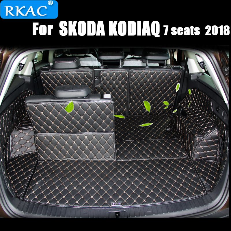 RKAC Car Custom Trunk Mats For SKODA KODIAQ 7 SEATS 2018 Waterproof Carpets Cargo Liner Interior Accessories car styling