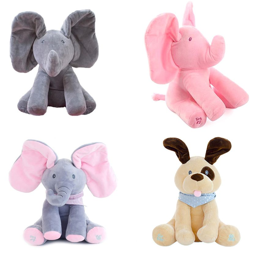 30cm Peek a boo Electric Elephant Plush Toy Interactive Cute Plush Toy For Kid Speaking Elephant Toy Cool Gift