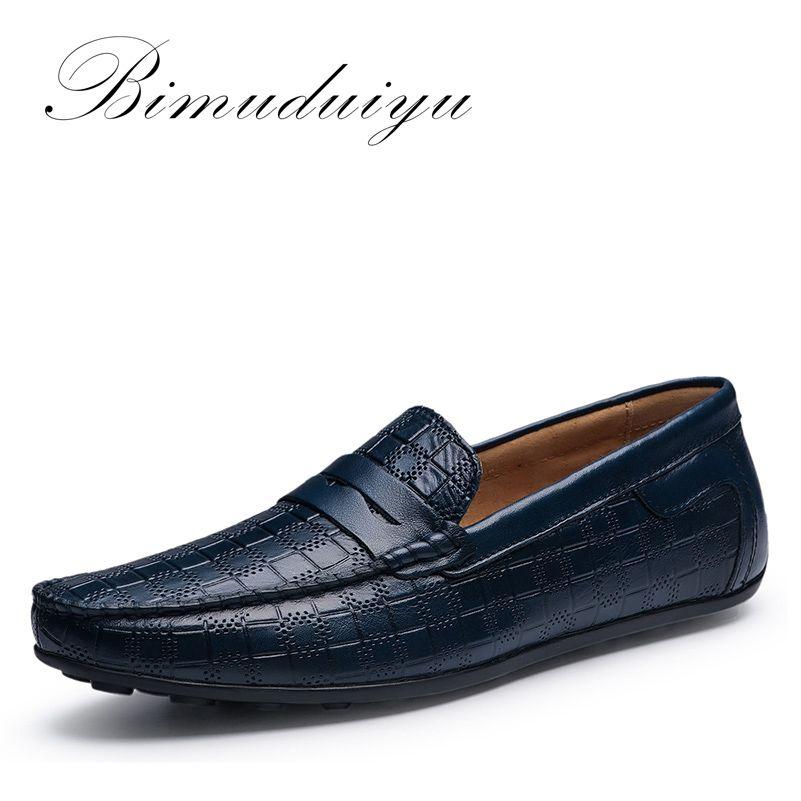 BIMUDUIYU Hechos A Mano Los Hombres de cuero Genuino Mocasines Zapatos Respirables Suaves Resbalón En Zapatos de Los Planos de Conducción Ocasional Cuatro Estaciones Diseño