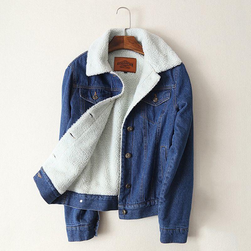Spring Autumn <font><b>Winter</b></font> New 2018 Women lambswool jean Coat With 4 Pockets Long Sleeves Warm Jeans Coat Outwear Wide Denim Jacket