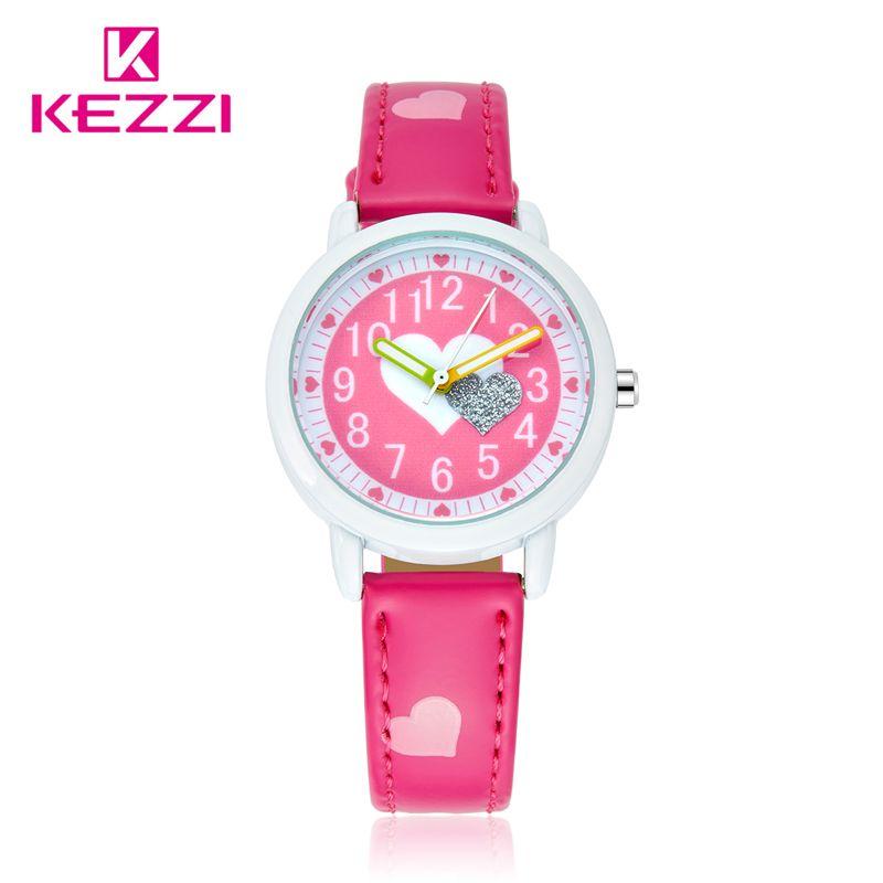 KEZZI Amor Corazones Relojes Correa de Cuero de la Muchacha de Impresión de Dibujos Animados niño Niños Reloj Estudiantes Del Reloj Del Cuarzo Casual Moda Horloge
