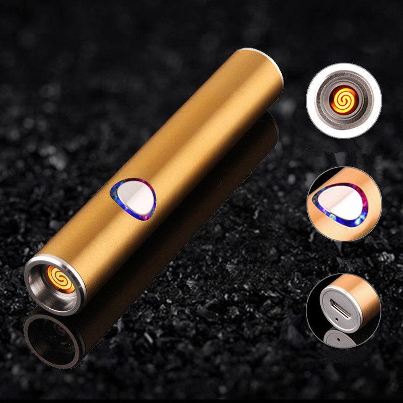 Mini USB En Métal Briquet Électronique Rechargeable Léger Mince Cigarette Briquet Turbo Encendedor Cigare Palsma Pulse Homme Léger