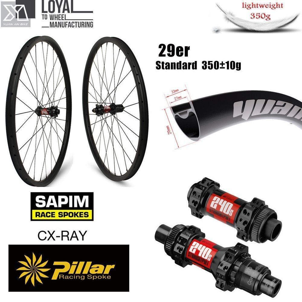 DT Schweizer 240 29er Carbon MTB Rad XC BIN Laufradsatz Japn Toray Carbon Felge 33mm 29mm Super Licht gewicht Rim 350g Nur