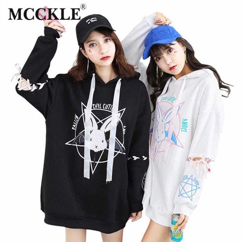 Mcckle/Harajuku два стиля толстовка для Для женщин узор Kwaii дамы с капюшоном Рубашки для мальчиков длинные свободные костюмы осень девушка Толстов...