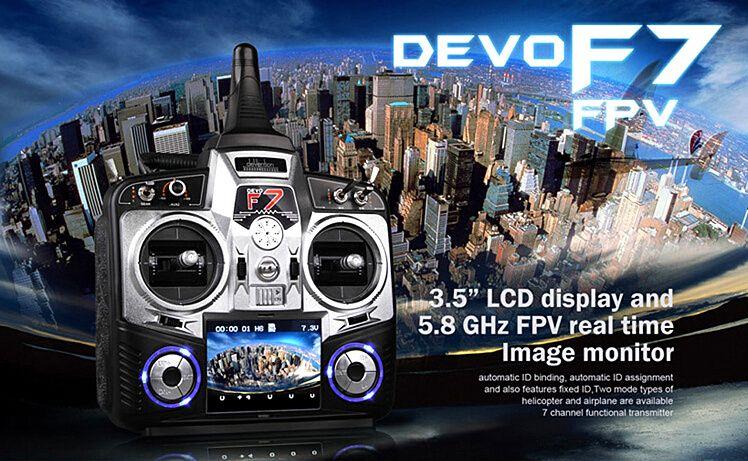 Walkera Devo F7 7 Channel LCD Display FPV Camera Transmitter Devo F7+ RX701 Receiver + 7.4V 800mah Battery