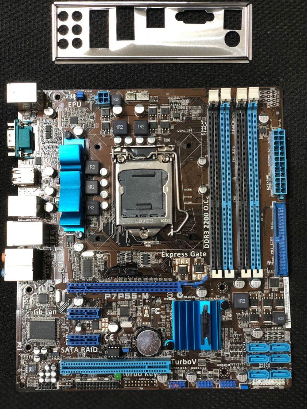 original motherboard for ASUS P7P55-M DDR3 LGA 1156 USB2.0 for I5 I7 cpu 16GB SATA2 P55 Desktop motherborad Free shipping