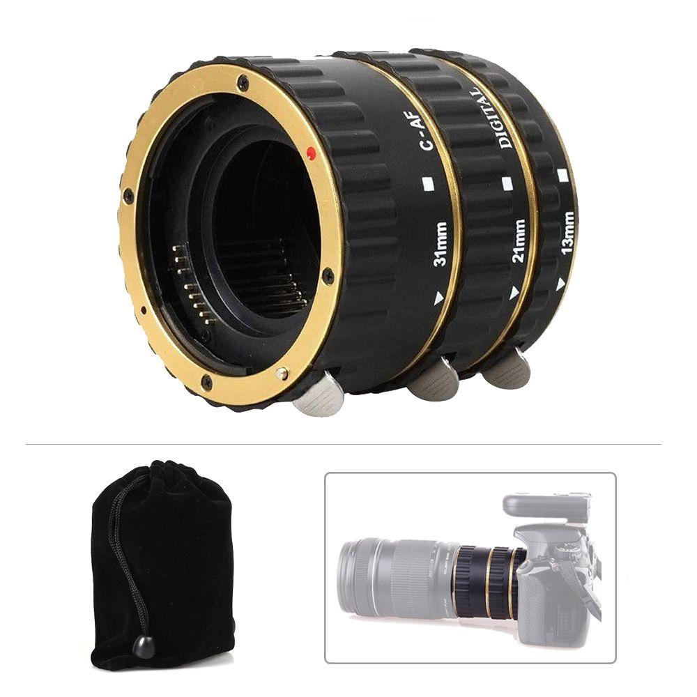 Pixel or ou Bleu Mise Au Point Automatique AF Montage Macro Extension Tube Anneau adaptateur de lentille pour Canon DSLR avec Mini flexible led usb Lumière