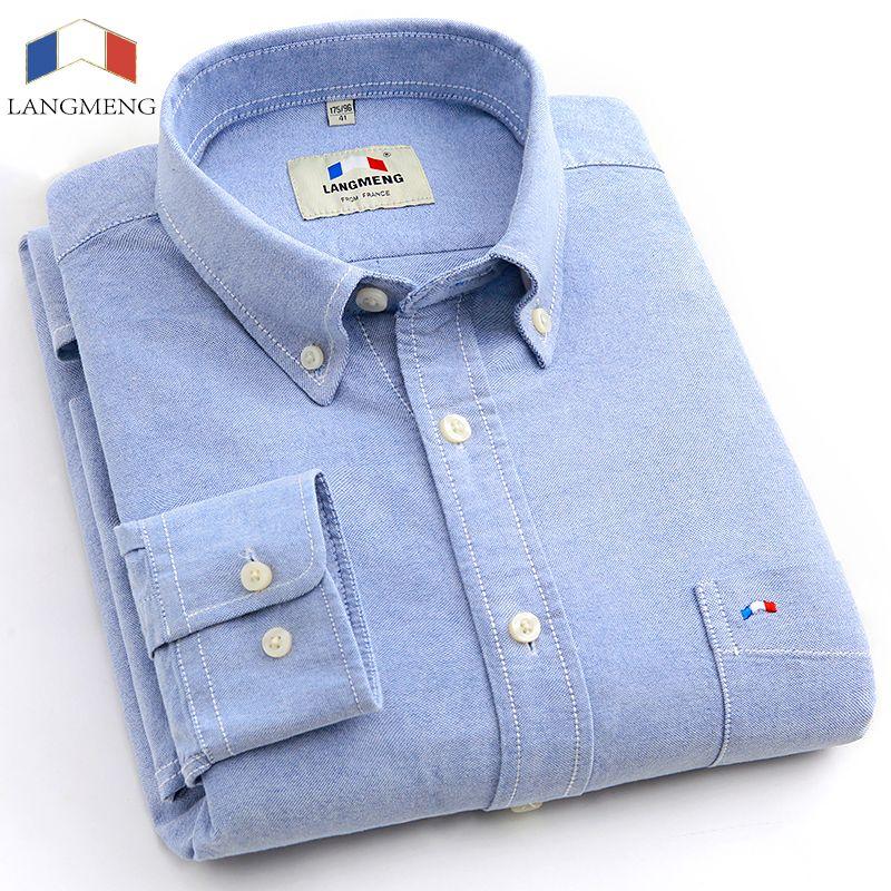 Langmeng 2017 бренд 100% хлопок сплошной рубашка в полоску мужские весенние повседневные рубашки Оксфорд Платье рубашка Camisa masculina белый черный