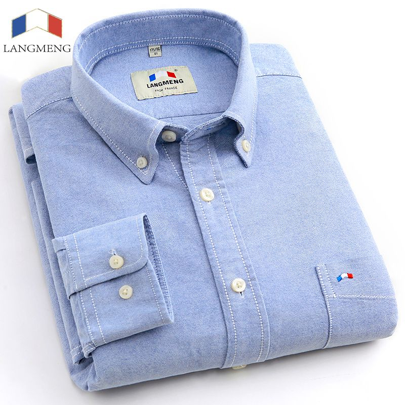 Langmeng plus size brand 100% cotton solid color shirt men spring casual shirts oxford dress shirt camisa masculina white black