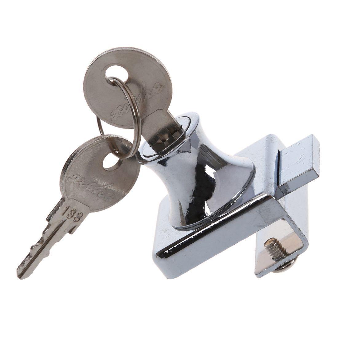 HHTL-XieHe Stainless Stell Showcase Display Cabinet Glass Door Lock w 2 Keys