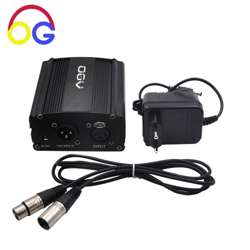 48V Phantom Power Supply with Adapter, BONUS+XLR 2M Pin Microphone Cable for Any Condenser Microphone Music Recording Equipment