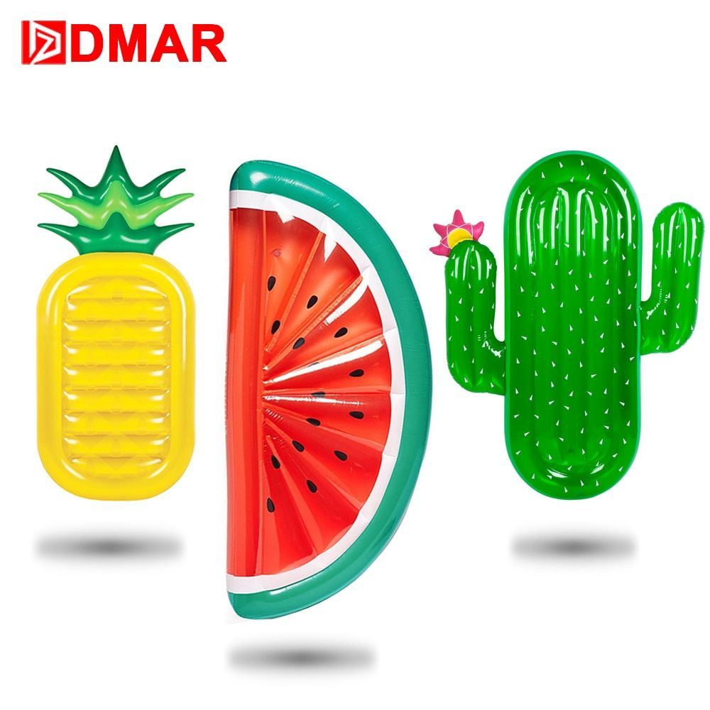 DMAR 185cm Giant Pool Float Inflatable Mattress Toys Watermelon Pineapple Cactus Beach Water Swimming Ring Lifebuoy Sea Party