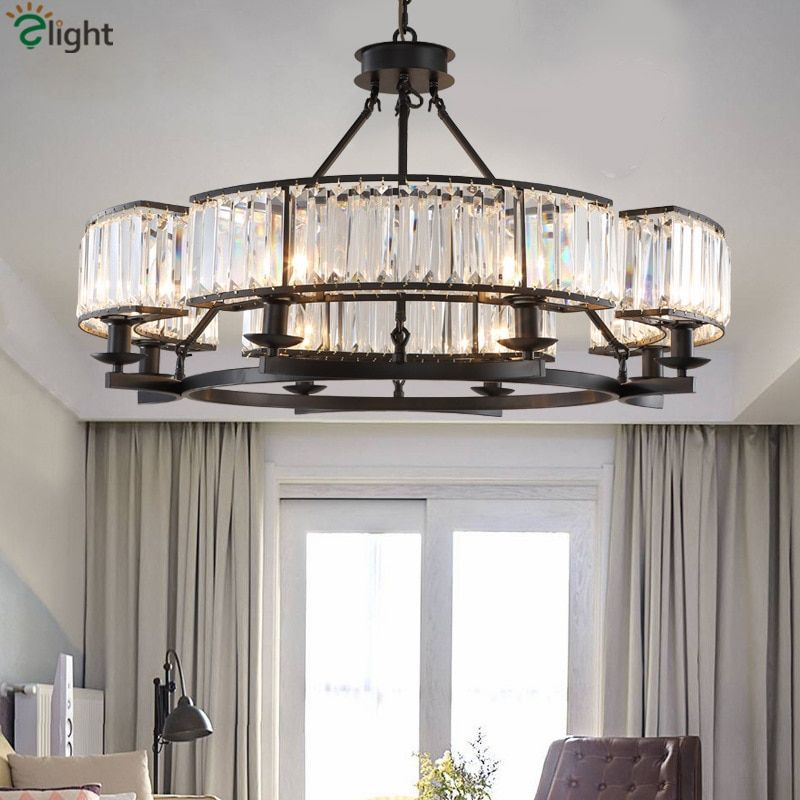 American Retro Industrial RH Loft Led Chandelier Lustre Crystal Pendant Chandelier French Style Living Room Chandelier Lighting