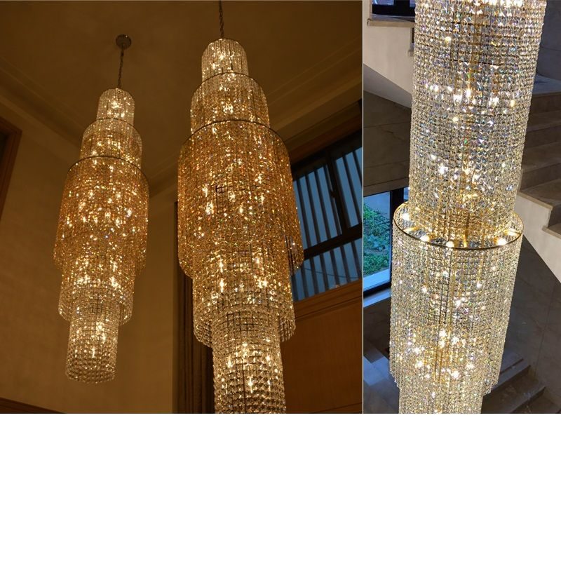 Crystal chandelier villa double floor living room lamp hotel lobby crystal chandelier customization