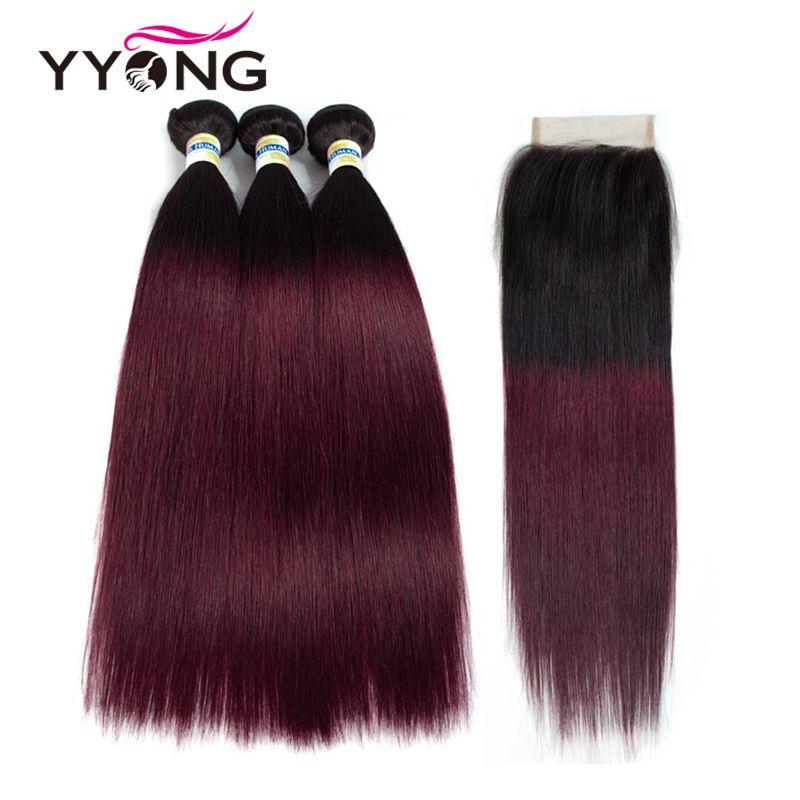 Ombre Haar 3 Bundles Mit Verschluss Yyong Professionelle 1B/99J Burgund Dunkel Wine Red 100% Menschenhaar Brasilianische Gerade menschliches Haar