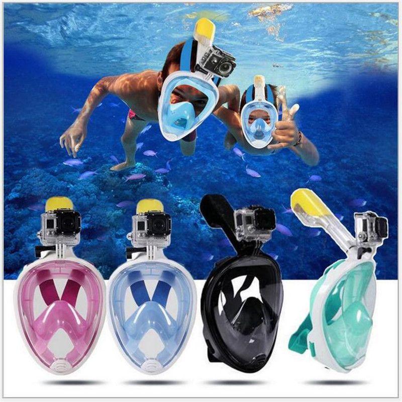 Underwater Anti Fog Diving Mask Snorkel Swimming Training Scuba mergulho 2 In 1 full face snorkeling mask For Gopro Camera
