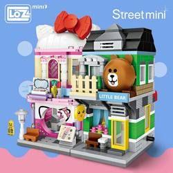 LOZ Mini Block Mini Jalan Kota 3d Blok Bangunan Rumah Kartun Toko Model DIY Perakitan Mainan untuk Anak-anak Pendidikan Anime menyenangkan
