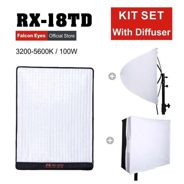 Falcon Eyes RX-18TD 100W LED Photo Video Light Portable LED Photo Light 504pcs Flexible LED Photo Light RX-18TD with Diffuser