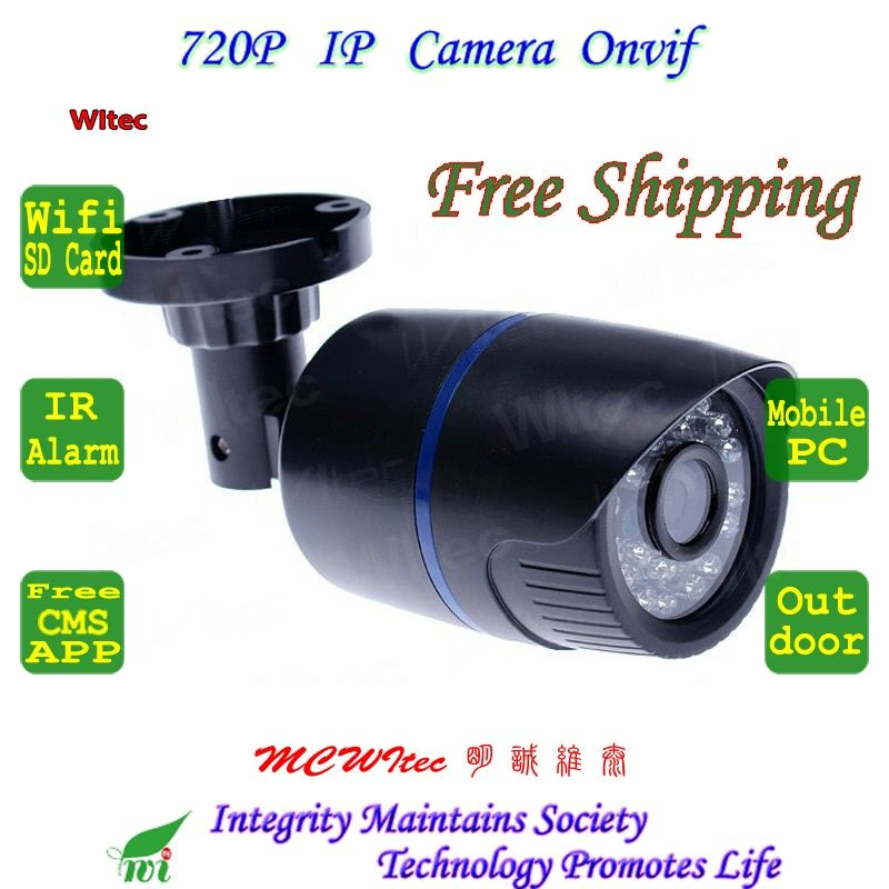 For 64G SD Card Built in WIFI 720P IR Outdoor Bullet ONVIF Security Night Vision P2P IP Cam 2MP Lens 1.0MP Network CCTV Camera
