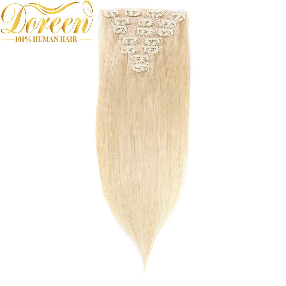 Doreen Full Head Set 120G 200G Brazilian Machine Made Remy Hair Blonde Clip In Human Hair Extensions 16