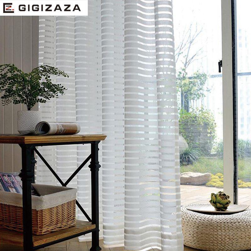 Ensoleillé Solide Bande Voile Fenêtre Sheer Rideaux pour Salon Chambre GIGIZAZA Tulle Drapé Bande Processus Blanc Couleur