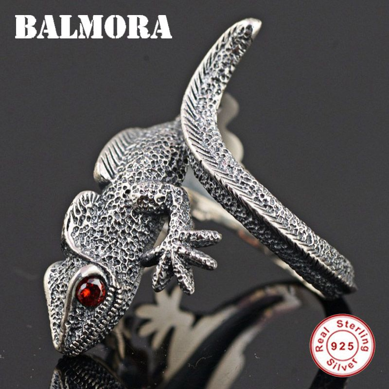 BALMORA Authentische 925 Sterling Silber Eidechse Offene Ringe für Männer Punk Personalisierte Ring Rot Augen Tier Schmuck Anillos SY21897