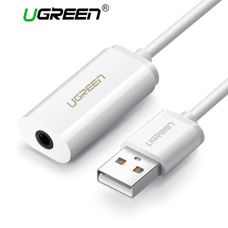 Ugreen 2-in-1 External Sound Card 3.5mm USB Adapter Audio Interface for iPhone EarPods Earphone Cable Computer USB Sound Card