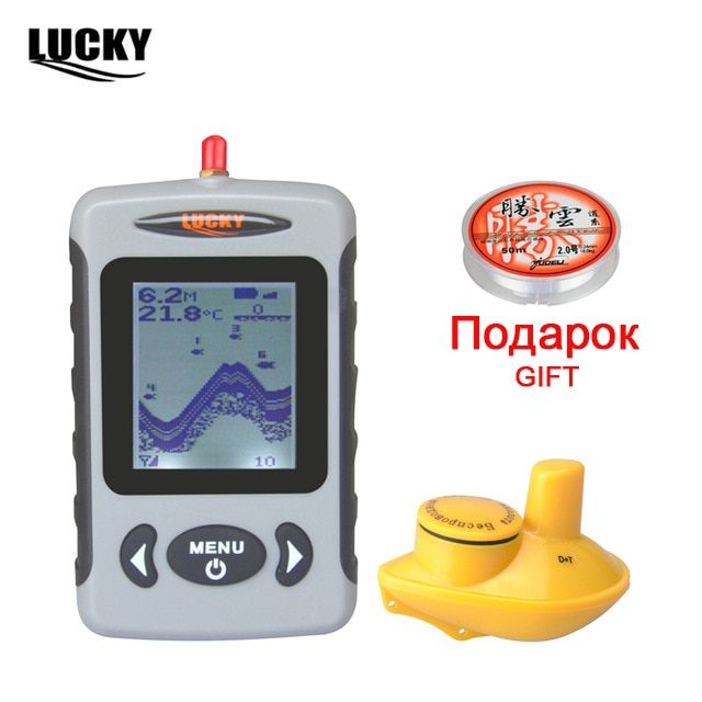 Russian Menu Wireless Sonar Portable Fish Finder Sensor Echo Sounder Detector Alarm River Lake Sea Bed Live 131ft/40M FFW718