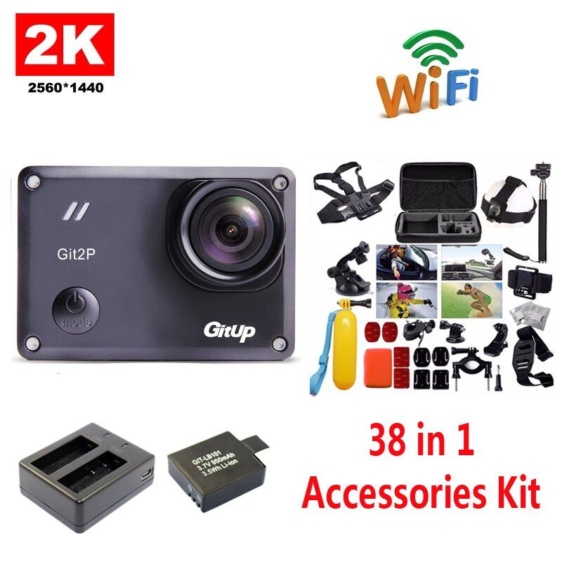 Free Shipping!!GitUp GIT2P 2K WiFi Camera 30fps 1080P Sports Action Cam+Extra 1pcs Battery+Battery Charger+38Pcs Accessories Kit
