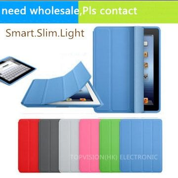 Nice magnetic leather slim smart cover for apple ipad 4 3 2 case+crystal transparent hard back protect skin shell case