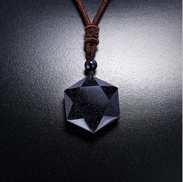 Suspension Planet Blue Sandstone Star Hexagram Leather Chain Pendants Necklace For Womem Dropshipping