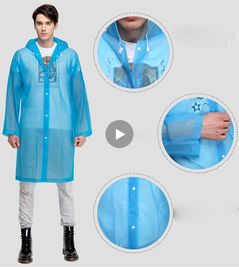 Fashion Women Men EVA Transparent Raincoat Portable Outdoor Travel Rainwear Waterproof Packable Windbreaker Rain Jacket Coat
