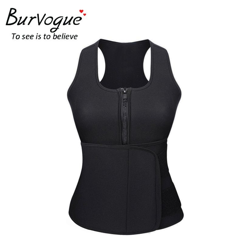 Burvogue Women Hot Neoprene Sauna Shapers Belt Tummy Control Slimming Shaper Vest Waist Trainer Top Adjustable Zipper Shapewear